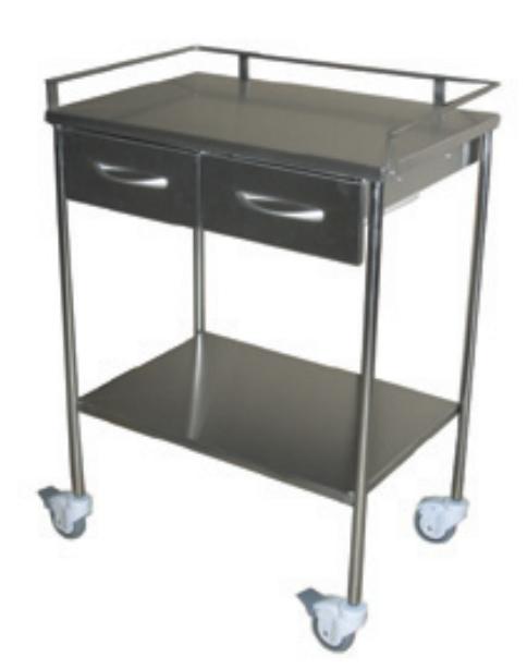 Mesa auxiliar 2 estantes barandillas y cajones disamed - Mesa auxiliar con cajones ...